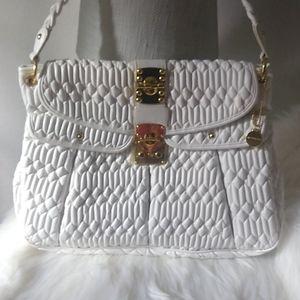 BIG BUDDHA Large White Shoulder Purse Bag